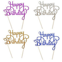 Silver Cake Topper Happy Birthday Party Supplies Decoration KidMulti Color
