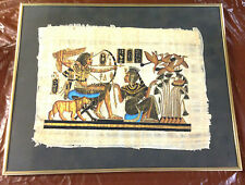 "Vintage Papyrus Art Egyptian Queen Hieroglyphs 21"" X 17"" Framed With Glass"