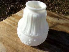 Vtg Antique Victorian Hanging Lamp Bell Shaped Milk Glass Shade Oil Gas Floral