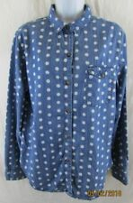 Women Lg Polka Dot Blouse Button Down Top BDG Cotton Lyocell Career Casual Blue