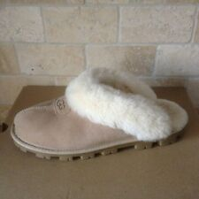 UGG COQUETTE SAND SUEDE SHEEPSKIN SLIP-ONS SLIPPERS SHOES SIZE US 12 WOMENS