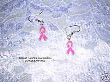 Cancer Awareness Save The Tatas Earrings Pink Enamel Ribbon Emblem Fight Breast