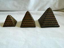 """Egyptian Stone Black Brown Pyramid Set Resin 1.5"""", 2"""", 2.5""""  #21"""