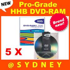 5 x NEW HHB DVD-RAM4.7GB Pro-Grade Recordable Rewritable DVD-RAM Blank Discs