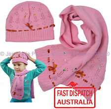Kids Girl Sequin Lacy Winter Cold Weather Ear Neck Warmer Beanie Hat Scarf SET