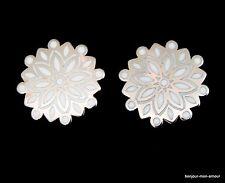 Grosse, weiß emaillierte Blüten Designer TRIFARI Ohrclips Ohrringe, Orecchini