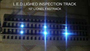 """NEW LED Lighted 10"""" Inspection Track. Lionel FasTrack Straight (Fast Track)"""