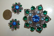 WEISS Peacock Rhinestone Demi-Parure Brooch Pin and Earring Set