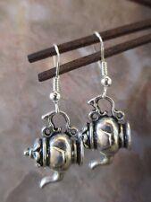 Pretty Vintage Tibetan Silver Small Fancy Teapot Earrings
