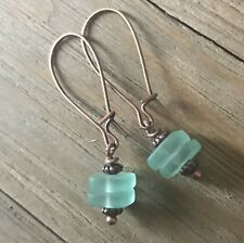 Min Favorit Turquoise Bay Sea Glass Square & Ant Copper Artisan Drop Earrings