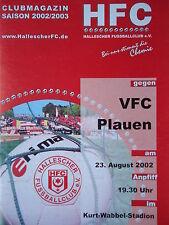 Programm 2002/03 HFC Hallescher FC - VFC Plauen
