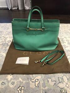 Gucci Mint Green Leather Horsebit Tote Large Shopper Shoulder Bag