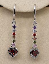 18K White Gold Filled -1.6'' Heart Ruby Topaz Zircon Lady Hoop Wedding Earrings