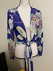 Vintage Rene Derhy tie & open front top sheer blue floral sequin size small