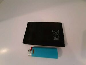 Vintage 1980's Playboy Bunny Wallet Nos Nylon Black BiFold