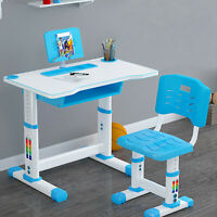 Height Adjustable Kids Combined Study Table and Chair Set Tantisy⭐ Children Desk Blue, 27.5x15.7 Kids Desk and Chair Set w//LED Light School Student Writing Desk w//Pull Out Drawer Storage