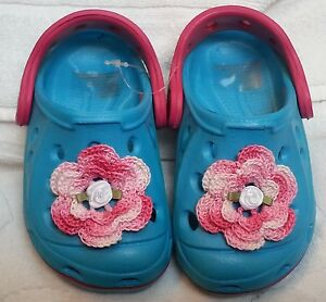 NEW BLUE PINK CLOGS SANDALS SHOES w/ROSE GIRLS BABY INFANT TODDLER SIZES 7 and 8