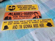 LAUREL & HARDY 3 RARE 1968 LARGE BUMPER STICKERS LOT NICE