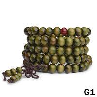 Sandalwood Buddhist Meditation 6mm 108 Prayer Bead Mala Bracelet/Necklace Green