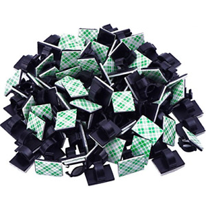 eBoot 100 Pieces Adhesive Cable Clips Wire Clips Cable Wire Management Wire Tie