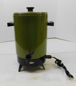 VTG AVOCADO GREEN EMPIRE 32 CUP ELECTRIC COFFEE POT PERCOLATOR 2032-21