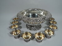 JE Caldwell Punch Bowl & Cups - Antique Centerpiece - American Sterling Silver