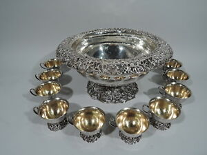 JE Caldwell Punch Bowl & Cups - Antique Centerpiece   American Sterling Silver