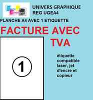 100  Feuille Autocollante Papier Etiquette A4 210x297 mm Multiusages