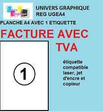 100  Feuille Autocollante Papier Etiquette A4 210x297 mm Multiusages