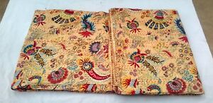 Indian Hand flower Print Kantha Quilt Palm Tree kantha bed cover Bedspread Throw