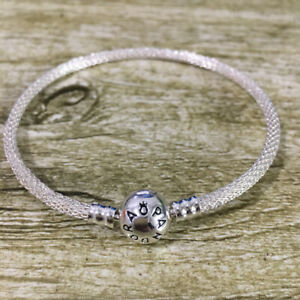 AUTHENTIC 925 PANDORA SILVER MOMENT ROUND MESH BANGLE BRACELET WITH LOGO Gift
