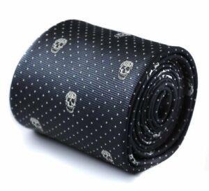 Frederick Thomas Designer Mens Tie - Black - Skull Gothic Polka Dot