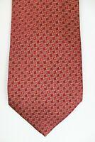 ERMENEGILDO ZEGNA Recent Red Yellow Swirl Geometric 100% Silk Mens Luxury Tie