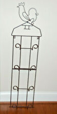New Rooster 4 Plate Wrought Iron Decor Folding Hanging Rack Holder