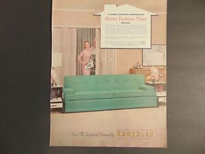1950's KROEHLER GREEN COUCH SOFA vintage art print ad