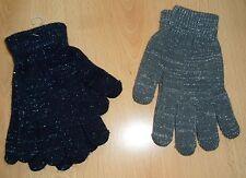 Damen Handschuhe Strickhandschuhe Blau Grau Lurex Gr. S - 2 Paar