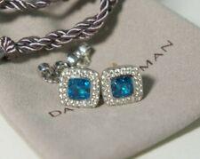 David Yurman 925 Silver 14k Blue Topaz PETITE Albion Diamond Stud EarringsPouch