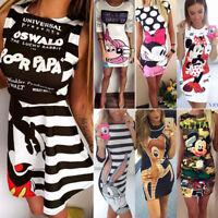 Women Cartoon Mickey Minnie Mini Dress Cocktail Party Bodycon Sundress Long Tops