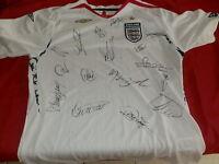 maillot angleterre england UMBRO  2007-2009 avec 16 signatures des joueurs