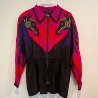 Vintage Bob Mackie Womens Jacket Multicolor Black Horse Zip Up Tie Waist Zip M