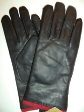 Ladies Red Angora/Lambswool Lined Genuine Leather Gloves,Black,Small