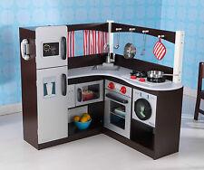 KidKraft Kids Grand Espresso Corner Kitchen Pretend Play Fridge Cooking 53271