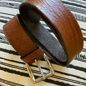 VINTAGE FOSSIL Women's Genuine Leather Floral Detail On Buckle Belt Size Small