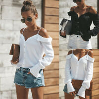 Women Button Sexy Off Shoulder V-Neck Long Sleeve Tops Casual Loose Blouse Shirt