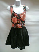Motel Carrie Dress Black With Roses Multi Floral Motel Rocks Bnwt New S – UK 10