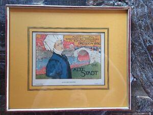 Otto Fischer Dreden Die Alte Stadt 1897 Framed Lithograph Modern Art
