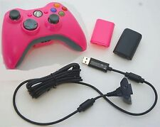 Official Microsoft XBox 360 Wireless Controller +Play & Charge Battery Kit PINK