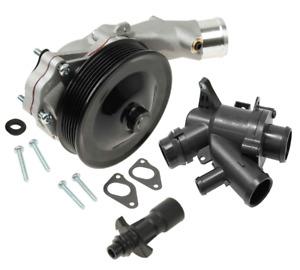 Water Pump w/ Bolts Gaskets Connector + Thermostat Kit Jaguar Land Rover V8 5.0L