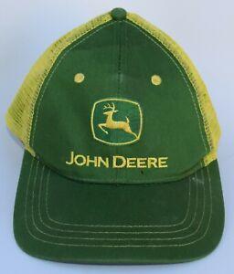 John Deere Baseball Cap Hat One Size Strapback Mesh Structured Green & Yellow