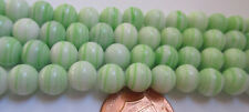 99 Very Vintage Japanese Glass 7mm Green Swirl Round Necklace Beads, on 1 Strand